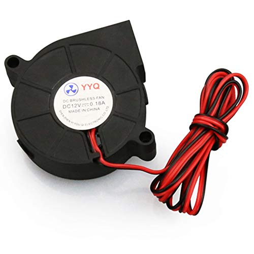 Walmeck 5015 DC 12V 0.18A Brushless Cooling Blower Fan Turbine Gebläse Ultra-Quiet Oil Bearing 6500RPM 50 * 50 * 15mm für DIY 3D Printer (12v Dc-fans)