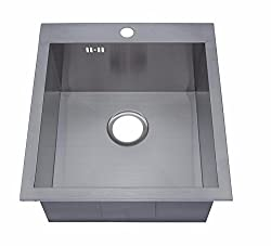 460 x 500 mm Top Mount/Inset Single Bowl Handmade Satin Stainless Steel Kitchen Sink With Tap Hole & Waste (DS023-1)