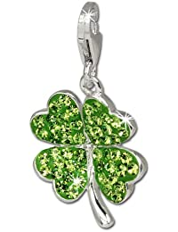 SilberDream Glitzer Charm Kleeblatt grün Swarovski Elements shiny Anhänger 925 Silber für Bettelarmbänder Kette Ohrring GSC215G