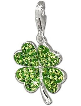 SilberDream Glitzer Charm Kleeblatt grün Swarovski Elements shiny Anhänger 925 Silber für Bettelarmbänder Kette...