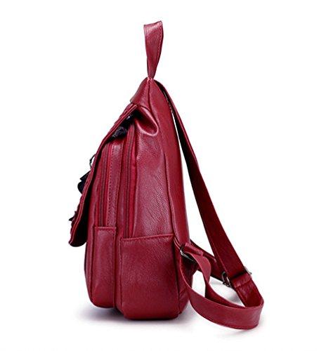 Yuncai Damen Freizeit Reiserucksack Mode Einfarbig Rucksack Handtasche Rot2