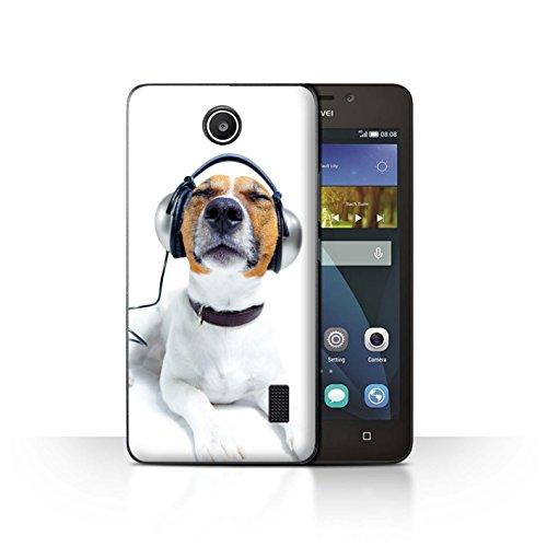 Stuff4 Hülle / Case für Huawei Y635 / Hund mit Köpfhörer Muster / Lustige Tiere Kollektion