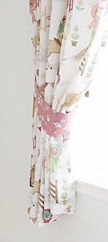 Kidz Club Pferde Tiere Mädchen bereit komplett gefüttert Bleistift Falten Vorhänge, Pink, 168x 183cm -