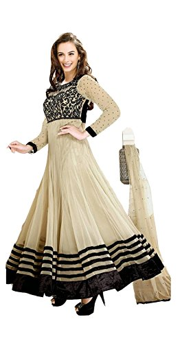 Texstile Women's Faux Georgette Dress Material (Evelyn Sharma_beige)