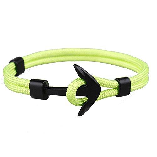 Vikings Anker-Armband Nylon Anker Schwarz 20 cm Unisex (Neon Grün)