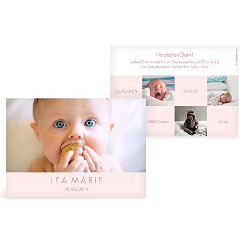 greetinks 15 x Geburtskarten \'Über dich\' in Rosa   Personalisierte Karten zur Geburt zum selbst gestalten   15 Stück Babykarten Dankeskarten