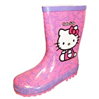 New Boys Novelty Hello Kitty Aegean Character Wellington Boots UK12 Pink