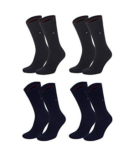 TOMMY HILFIGER Herren Classic Casual Business Socken 4er Pack verschiedene Farben (2er schwarz (200)/2er darky navy (322), 43-46)