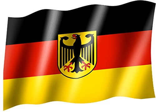 Flagge/Fahne DEUTSCHLAND mit Wappen/Bundesadler Staatsflagge/Landesflagge/Hissflagge mit Ösen 150x90 cm, sehr gute Qualität