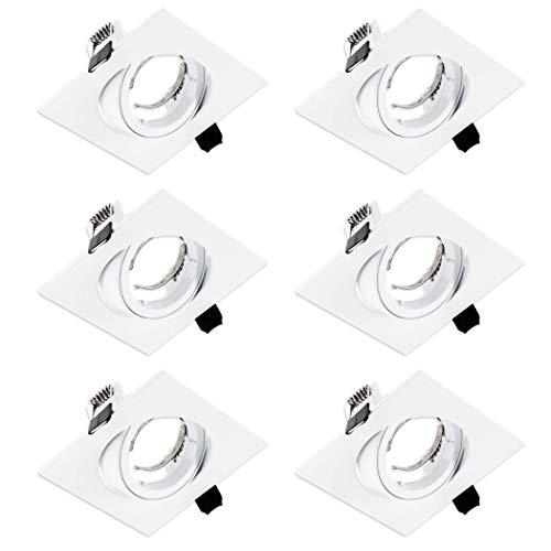 SEBSON Einbaustrahler eckig, quadratisch, schwenkbar, weiß, Deckeneinbaustrahler Alu inkl. GU10 Fassung (LED/Halogen), Lochmaß 82 mm, 6er Pack