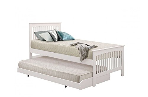 Happy Beds Toronto 3' Single Size Renowned Rubber Wooden White Guest Bed With 2x Memory Foam Mattress