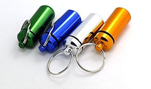 5x Aluminum Pill Box Case Bottle Holder Container Keychain by Landsell 5 Bottle Holder