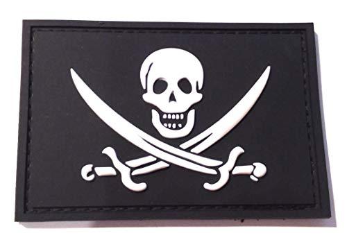 alico Pirate Flag Glow In The Dark Tactical Morale Patch (3D-PVC Rubber) Piratenflagge Phosphoreszenz Taktisch Klettband Aufnäher ()