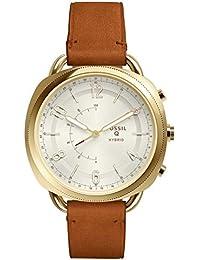 Fossil Damen Analog Quarz Smart Watch Armbanduhr mit Leder Armband FTW1201