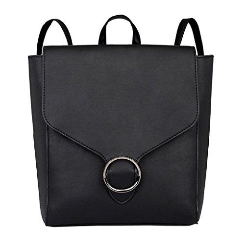 Sac À Dos Cuir Femme Fille,OverDose Mode Sacs Style Cartable a Rabat Avec Anneau School Bag Backpack