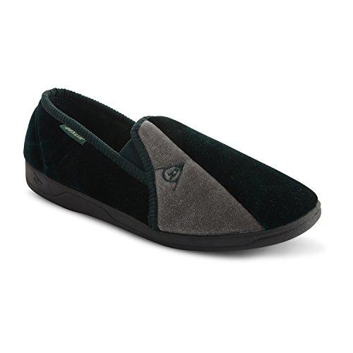 Dunlop - Pantofole da uomo in velluto, con elastico laterale e suola in gomma, taglie varie Green/Grey