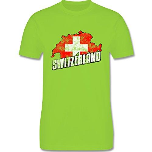 EM 2016 - Frankreich - Switzerland Umriss Vintage - Herren Premium T-Shirt Hellgrün