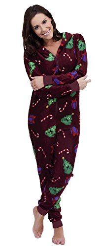 Ladies Christmas Xmas Warm Fleece Hooded Onesie Sleepsuit Pyjamas Wine