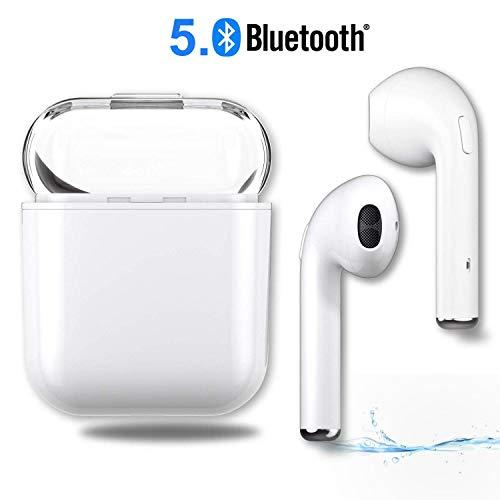 Bluetooth Kopfhörer, Kabellose Wasserdicht Ohrhörer Sports in-Ear-Stereo Headset mit Mikrofon für iPhone X / 8/7/6 / 6s Plus Samsung Galaxy S9 Huawei und Android Smartphones-Weiß Plus Kopfhörer
