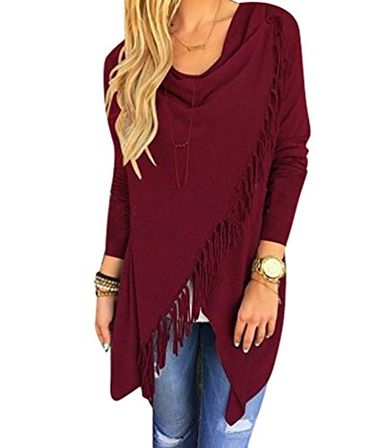 YouPue Donne Sciolto Casual Jacket Cardigan Manica Lunga Nappa Slash Camicetta Supera Tops Sweatshirt Vino Rosso M