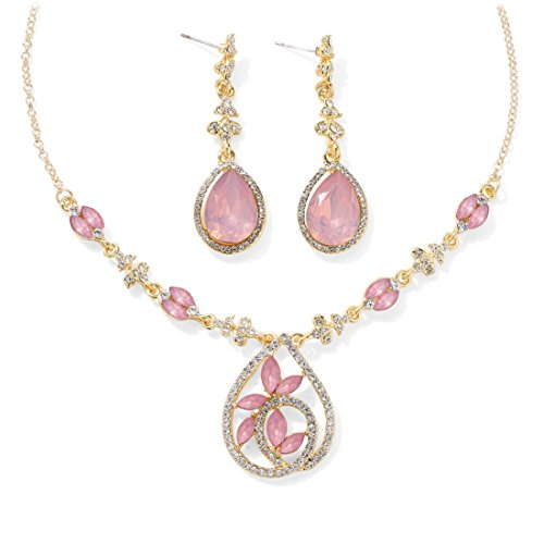Jewels Galaxy Crystal Elements Incredible Floral Design AD Stunning Gold Plated Pink Necklace Set With Earrings For Women/Girls  available at amazon for Rs.549