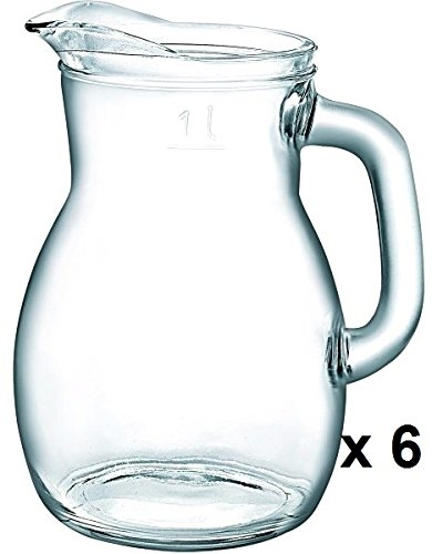 6 x verre Pichet Bistrot calibré 1,0L