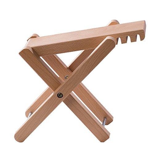 Rayzm Gitarren Fußhocker aus Holz, Klassische Höhenverstellbare Fußablage mit Vier Einstellbaren Stufen, Holzschemel für Banjo und Gitarre (Holz)
