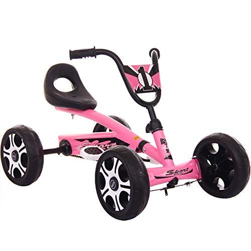 Lvbeis Kids Go-Kart-Fahren Mit Aufblasbarer Reifen Tretauto Indoor Outdoor Tretfahrzeug Verstellbarer Kettcar Sitz FüR 5 Bis 14 Jahre,pink