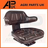 Universal Waterproof Black PVC Seat with arm Rest backrest Tractor Digger Dumper