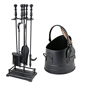 Ornate Fireside Companion Tool Set of Shovel, Brush, Tongs and Poker with Straight Sided Coal Scuttle Kindling Bucket with Shovel
