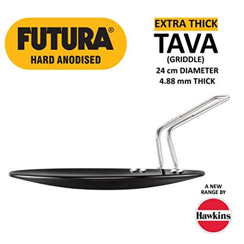 Hawkins Futura Hard Anodised Tawa, 24cm, Black