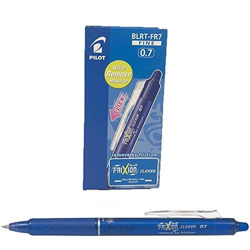 Für Gummi-kappen Stöcke (Pilot FriXion Clicker Druck-Tintenroller, radierbar, 0,7-mm-Spitze, Blau, 12 Stück)