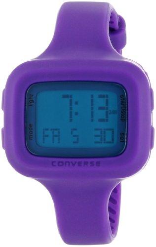 Converse Understatement – Reloj digital de mujer de cuarzo con correa de silicona lila (alarma, cronómetro) – sumergible a 30 metros