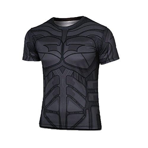 Superheld-Kostüm für Fitnessstudio/Radsport, Compression Baselayer T-Shirt mit kurzen Armen für Herren Gr. M, Batman Short Sleeve (T Shirt Batman Kostüme)