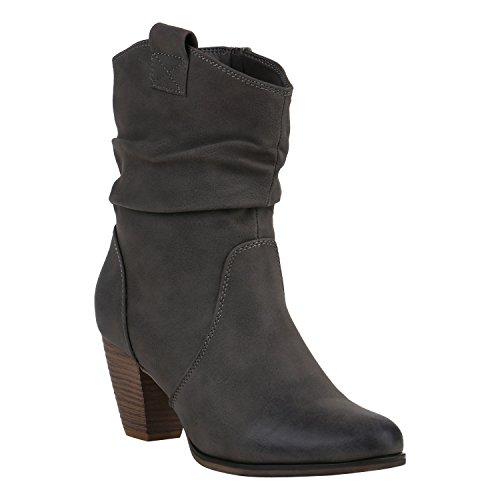 Stiefelparadies Damen Cowboy Stiefel Western Stiefeletten Leder-Optik Schuhe 151941 Grau Camiri 39 Flandell