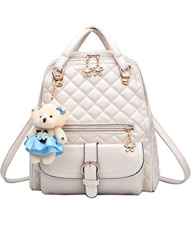 Menschwear PU Zaino Satchel Daypack sacchetto di scuola Diamante Blu Bianco
