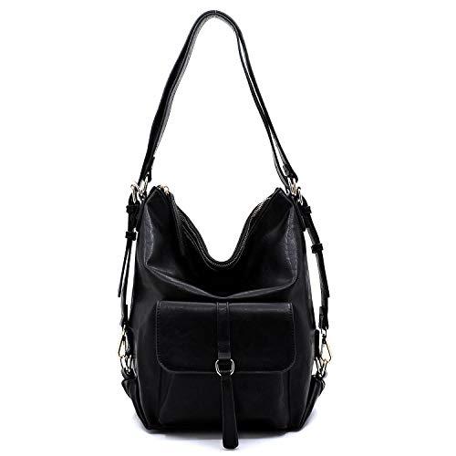 Amy & Joey Handtasche und Rucksack aus veganem Kunstleder, weich und leicht, Schwarz (schwarz), Medium -
