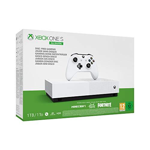 Microsoft -  Xbox One S 1 TB All- Digital Edition,  Fortnite (juego digital),  Sea of Thieves (juego digital),  Minecraft (juego digital)