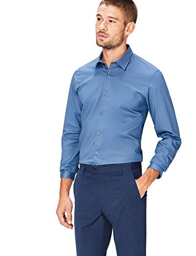 Find. camicia classica slim uomo, blu (new airforce), large