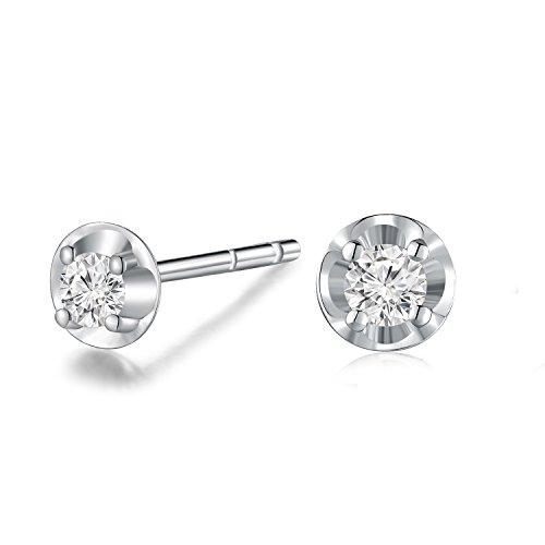 Oro bianco 18K (750) diamante solitario cerchio piastra orecchini a perno (0.13 Cttw, G-H colore, VS2-SI1 chiarezza) donne gioielli