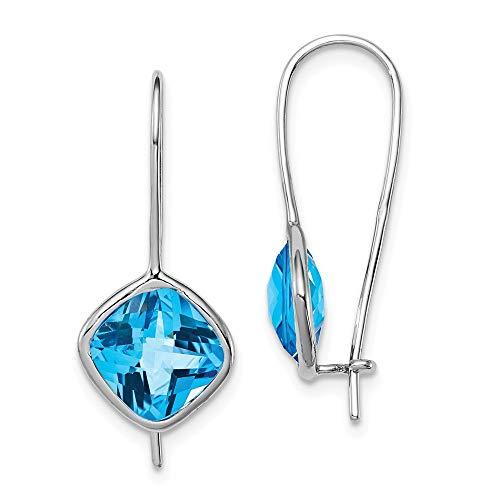 Ohrringe Sterling-Silber 925 rhodiniert Blautopas quadratisch - Französisch Quadratische Kissen