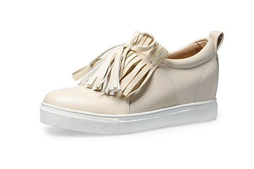 VogueZone009 Femme Fermeture D'Orteil Rond à Talon Bas Tire Couleur Unie Chaussures Légeres Abricot