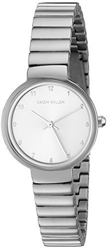 Karen Millen Women's Quartz Watch with Silver Dial Analogue Display and Silver Stainless Steel Bracelet KM131SM