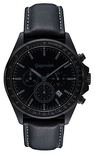 Gigandet G3–005Montre pour hommes, bracelet en cuir Noir