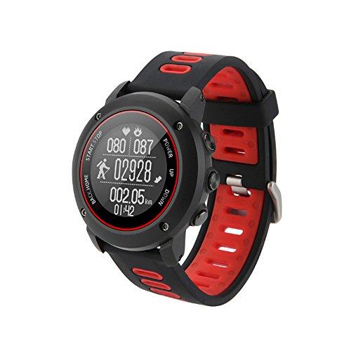Leisusport Fitness Uhr, Bluetooth GPS Uhr Smart Watch Uhr Laufuhr Wasserdicht mit Schrittzähler Tracker Herzfrequenz Uhr für Outdoor Laufen Damen Herren (UW90 rot)