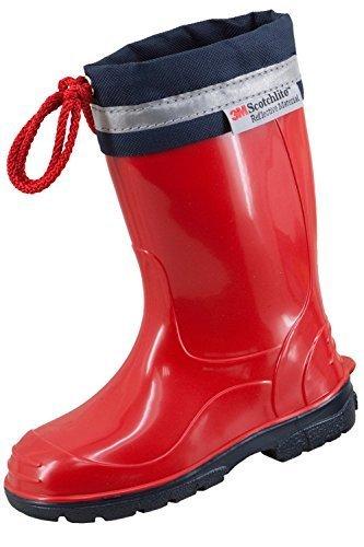 3M Scotchlite Kinder Gummistiefel Regenstiefel mit Stulpe KIM Rot