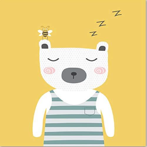 Poster Cartoon Weißer Bär Biene Drucke Wandkunst Leinwand Malerei Kinderzimmer Wandbilder Baby Kinderzimmer Dekor, C 40x50cm -