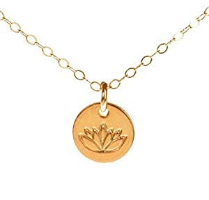 Buy lotus necklace tiny gold lotus pendant on 14k gold filled lotus necklace tiny gold lotus pendant on 14k gold filled chain dainty zen lotus aloadofball Gallery