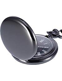Reloj de Bolsillo de Cuarzo Antiguo Liso con Cadena de Acero Negra