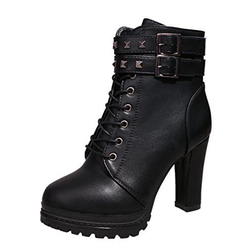 Martin Stiefel Damen Sonnena Ankle Boots Frauen High Heels Plateau Knöchel Stiefel Dünne Ferse Nieten Schnürstiefel Schuhe Leder-Optik Schuhe Reißverschluss Schnallen Blockabsatz (35, Sexy Schwarz) (Ferse-plattform-schuhe)